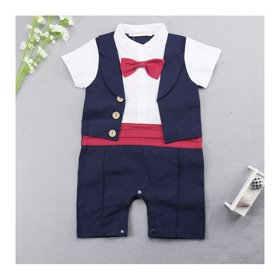 Infant Clothes Baby Rompers Gentlemen Style Baby Overalls Romper Short Sleeve New Born Baby Boy Rompers Kid's Jumpsuit gentlemen style striped baby boy romper playsuit