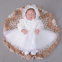 2019 Baby Girl Dress Ivory Christening Dress Long Sleeve 1 st Birthday Party Dress Lace Baptism Dress with Hat
