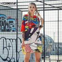 2018 Summer Harajuku Loose Print Dress Women Fashion Clothing Girl Cute  Kawaii Streetwear Punk Hooded T ff49dc534ebe