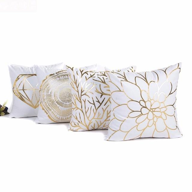 2018 Bronzing Pillowcase Cover Pillow Art Diamond seaweed flowers ...