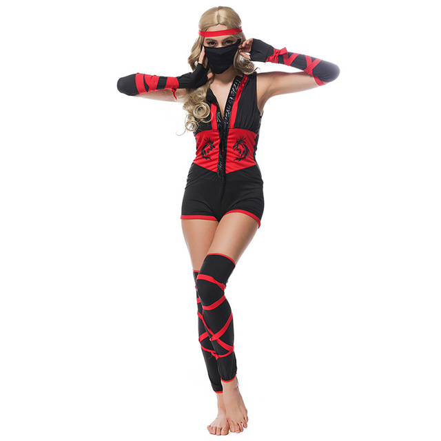 ninja costumes scary halloween costumes for adults men women sale party carnival roleplay ninja playsuits