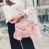 MOJOYCE Faux Fur Handbags Women Famous Brand Designer Luxury Totes Crossbody Bags for Women Tassel Winter bolsa feminina