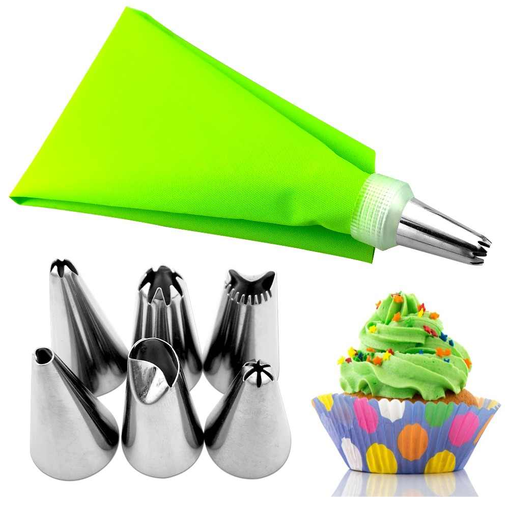 VOGVIGO 8 PCS Silicone Icing Piping Cream Pastry Bag + 6 Stainless Steel Cake Nozzle DIY Cake Deco Tips Fondant Tool Only Blue