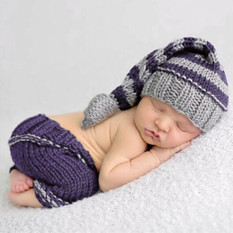 Puseky Handmade Knitting Soft Hat Pants Set Baby Clothing Accessories For 0-4 Months Newborn Baby Photography Props handmade crochet minion newborn photography props knitting baby boy hat overall set photo s accessories newborn clothing