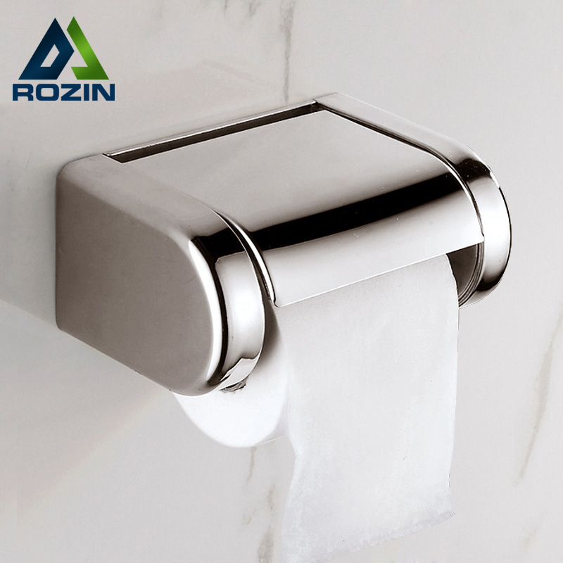 Wholesale and retail Free Shipping Chrome Bathroom Roll Paper Tissue Box Wall Mounted Stainless Steel Waterproof Paper Holder wholesale and retail wall mounted bathroom toilet paper holder antique black brass roll tissue box free shipping 7816