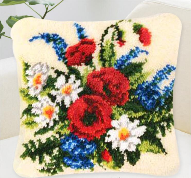 Embroidery Pillowcase Latch Hook Rug Kits 3D Decorative Pillow Flower Knitting DIY Embroidery Cushion Kits