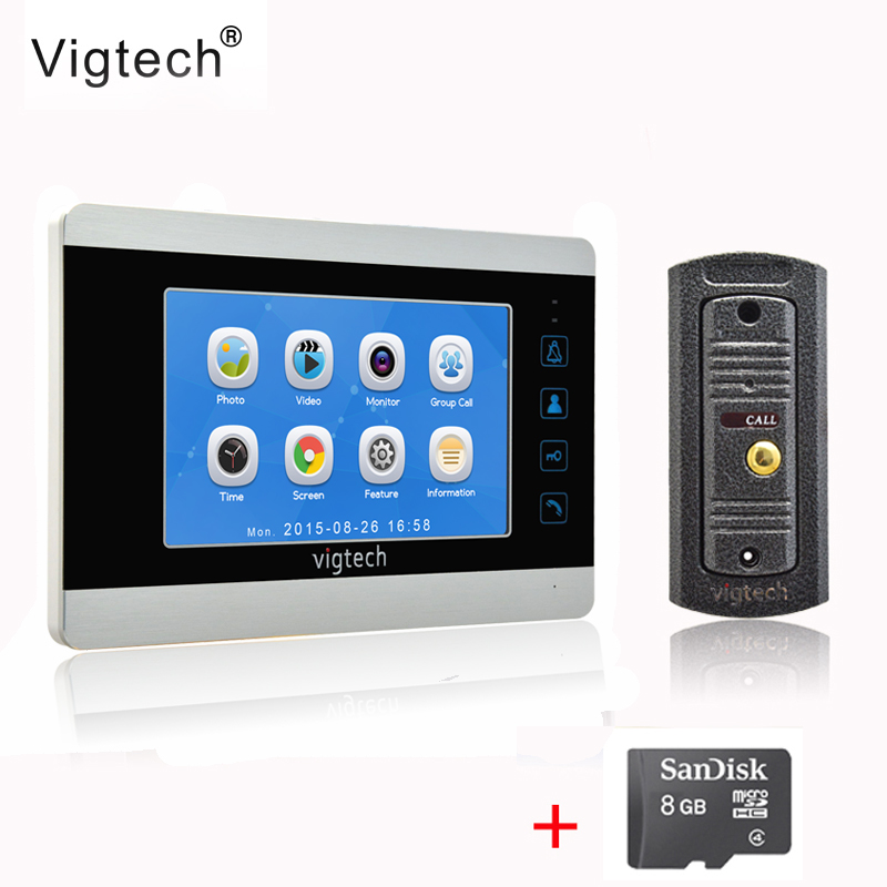 Vigtech7 inch LCD Video Doorbell Door phone Record Intercom System Infrared Night Vision Camera 8GB TF Card FREE SHIPPING homefong 4 inch monitor lcd color video record door phone doorbell intercom system night vision 1200tvl high resolution