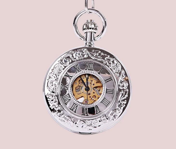 Automatic mechanical watch Silver Roman display Hollow Antique pocket watch men gift