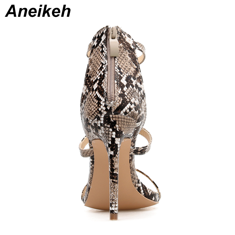 4aee2e4e3de8 Aneikeh Fashion Sexy Leopard Print Gladiator Sandals Thin High Heels Sandals  2019 Women Summer Open Toe Snakeskin Pumps Shoes-in High Heels from Shoes  on ...