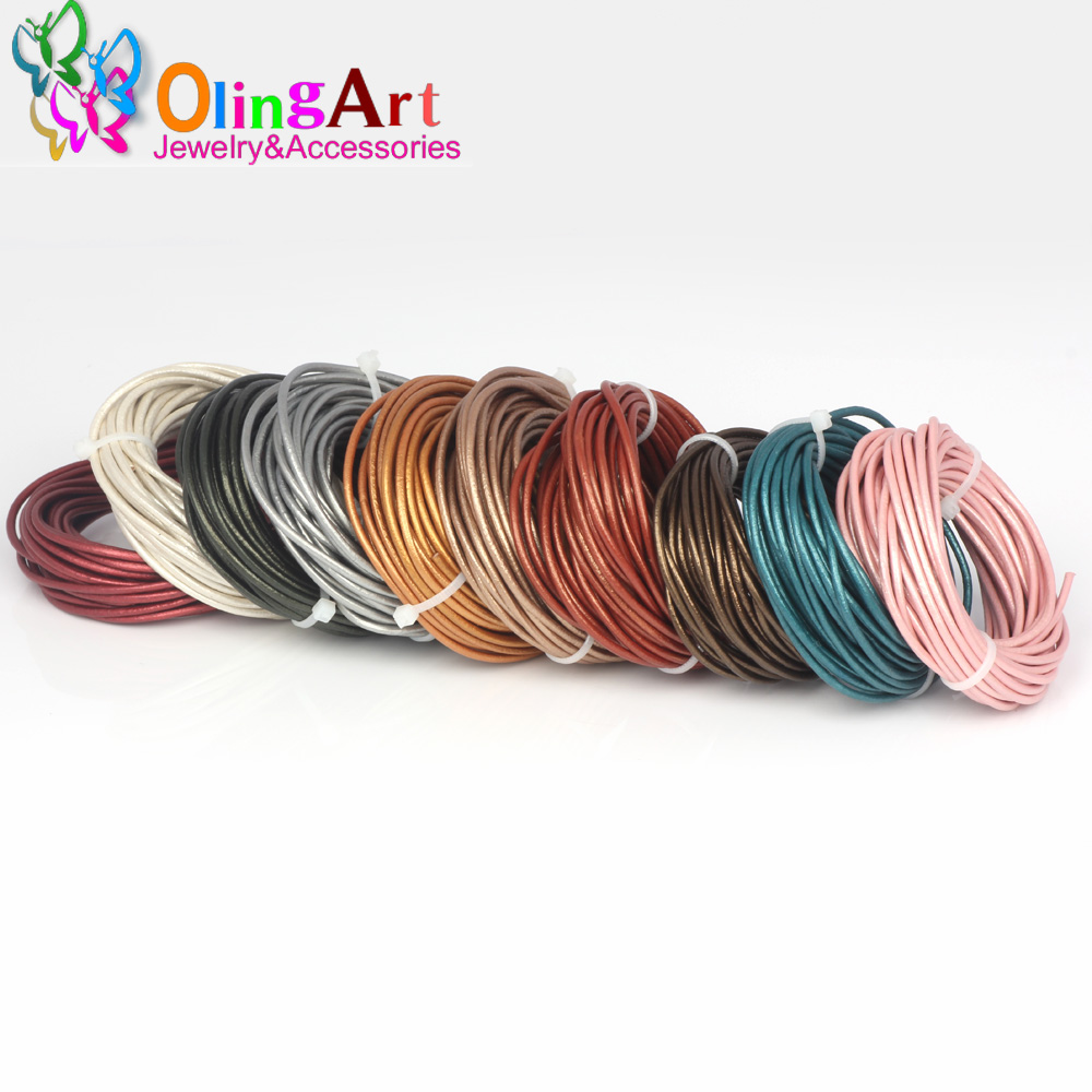 OlingArt 1.5mm 5M/Lot Round Pearl Color Genuine Leather Cord Pearls Cords/Wire Earrings Bracelet Choker Necklace Jewelry Making