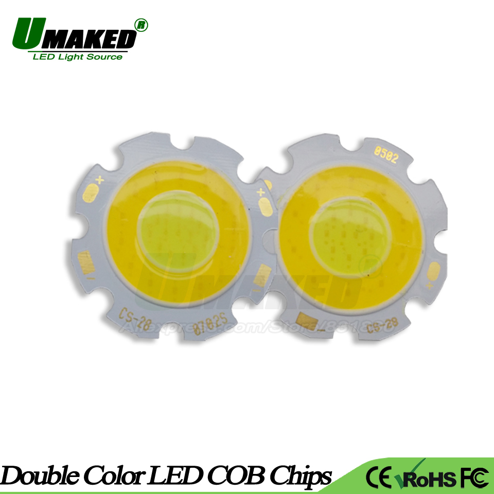 Inventive Umaked 50pc/lot Mix Color Led Chips 3w 5w 7w Dia28mm Integrated Smd Cob Diodes Light Beads For Led Bulb Spotlights Ceiling Lamps High Resilience Light Beads