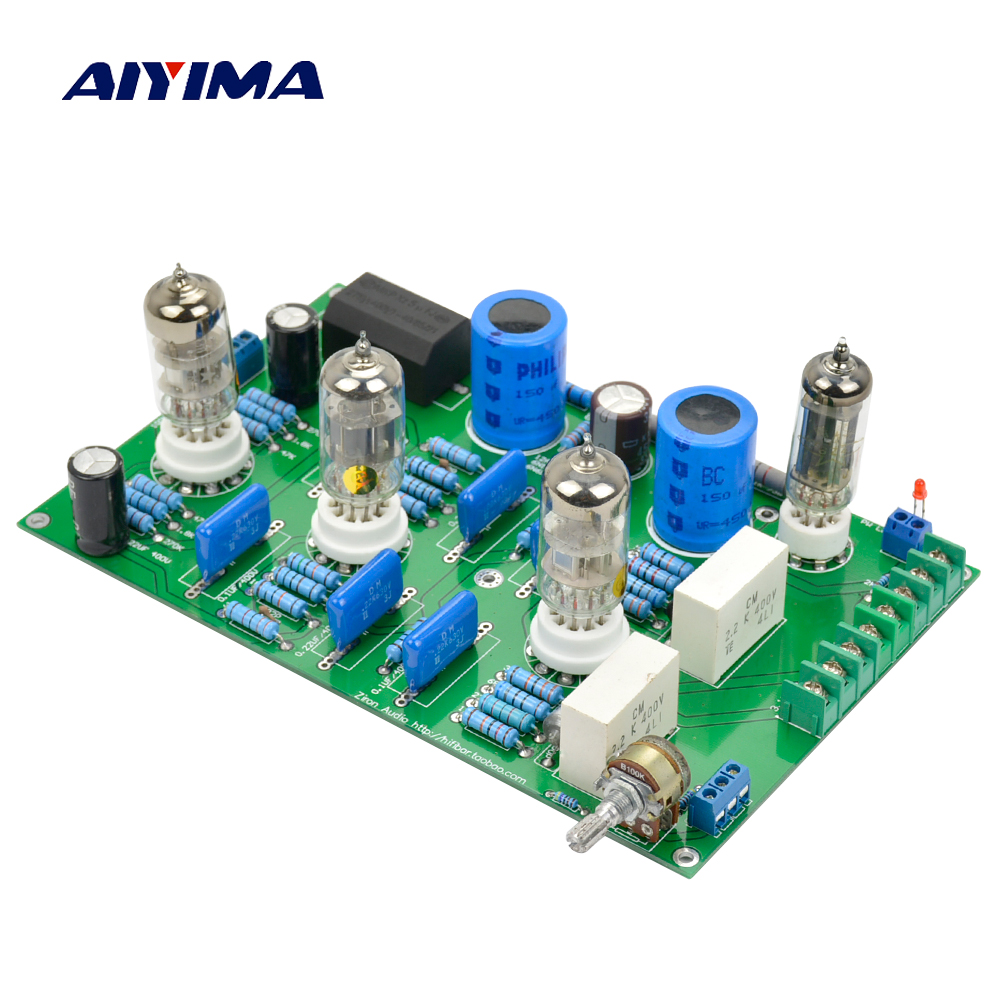 Aiyima Tube Amplifier Board Marantz M7 6N2 6N1-J 6Z4 Tube Buffer Audio Preamplifier Bile Rectifier Tube Pre AMP Board For DIY 2016 new matisse amp dc12v 2a bile preamp tube preamp buffer 6n3 5670 tube pre amp hifi audio tube preamplifier power supply
