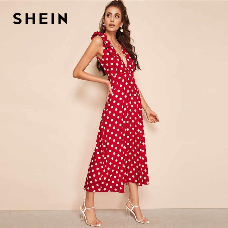 Шеин галстук плечо погружающийся шеи горошек Макси платье женское без рукавов Глубокий v-образный вырез сексуальное платье Высокая талия линия летнее платье