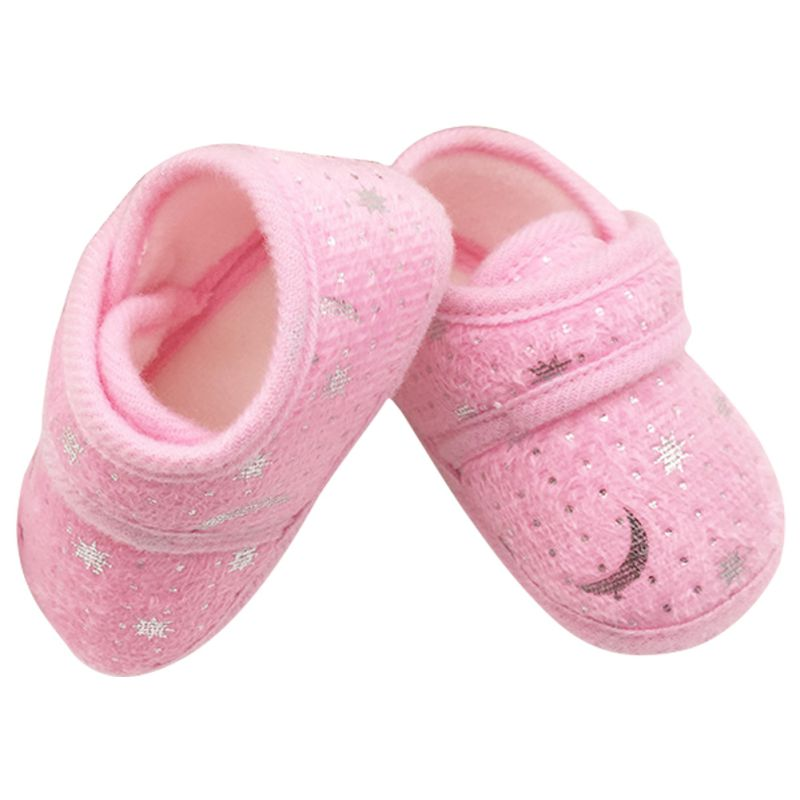 Baby Kids Girls Toddlers Cute Crib Shoes 0-12 Months Infant Shoes Anti-Slip Prewalkers Buckle Cotton First Walker 3 Colors