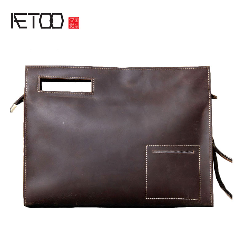 AETOO Crazy horse leather briefcase original casual first layer of leather shoulder Messenger bag men leather package qiaobao 2018 new korean version of the first layer of women s leather packet messenger bag female shoulder diagonal cross bag