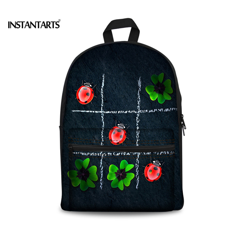 INSTANTARTS Cool Animal Printing Backpack for Teenager Boys Travel Laptop Canvas Backpack 3D Ladybug Children School Backpacks big cool 3d animal owl men s backpack fashion leisure laptop backpacks for teenager school bags travel women s backpack