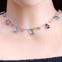 Newranos Multi Color Zirconia Stone Choker Necklace Colorful Natural Crystal Stone Necklace for Women Fashion Jewelry NFX0021084