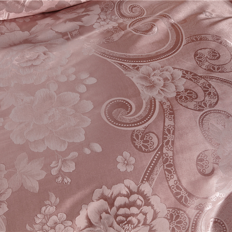 Pale Mauve Floral Bedding Set Queen King Size Silk Cotton Jacquard Slippery Duvet Cover Bedlinens Flat Sheet Pillow Cases in Bedding Sets from Home Garden