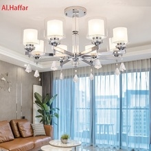 Modern luxury crystal LED Chrome color metal Chandeliers Lighting Pendant with double glass shades Fixture Lamp For living room
