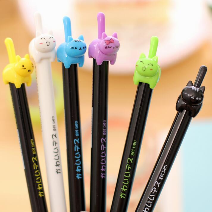 2Pcs//set 0.35mm Korean Style Cute Kawaii Cat Japanese Gel Pens Blue Students Pen