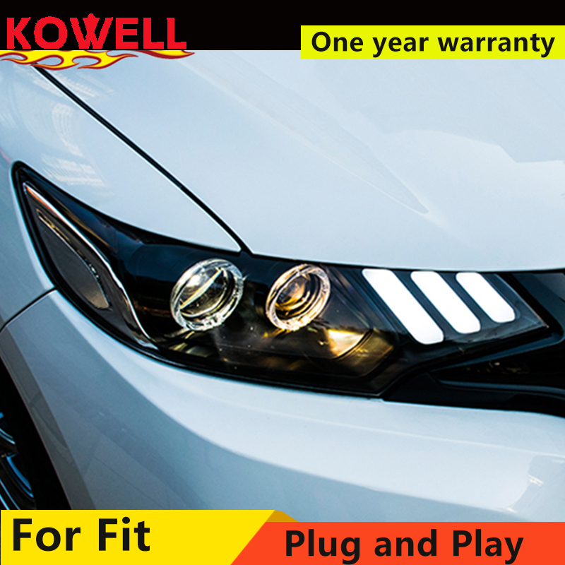 KOWELL Car Styling For Honda FIT LED Headlight 2014 2016 2017 JAZZ Head lamp GK5 with