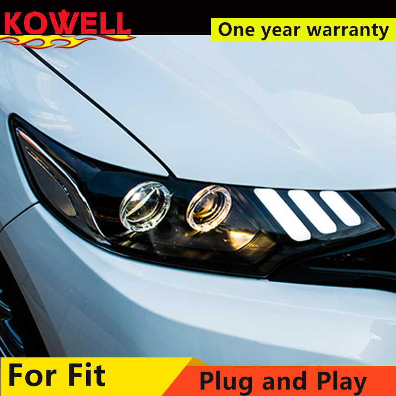KOWELL Car Styling For Honda FIT LED Headlight 2014 2016 2017 JAZZ Head lamp GK5 with DRL Bi-Xenon beam light