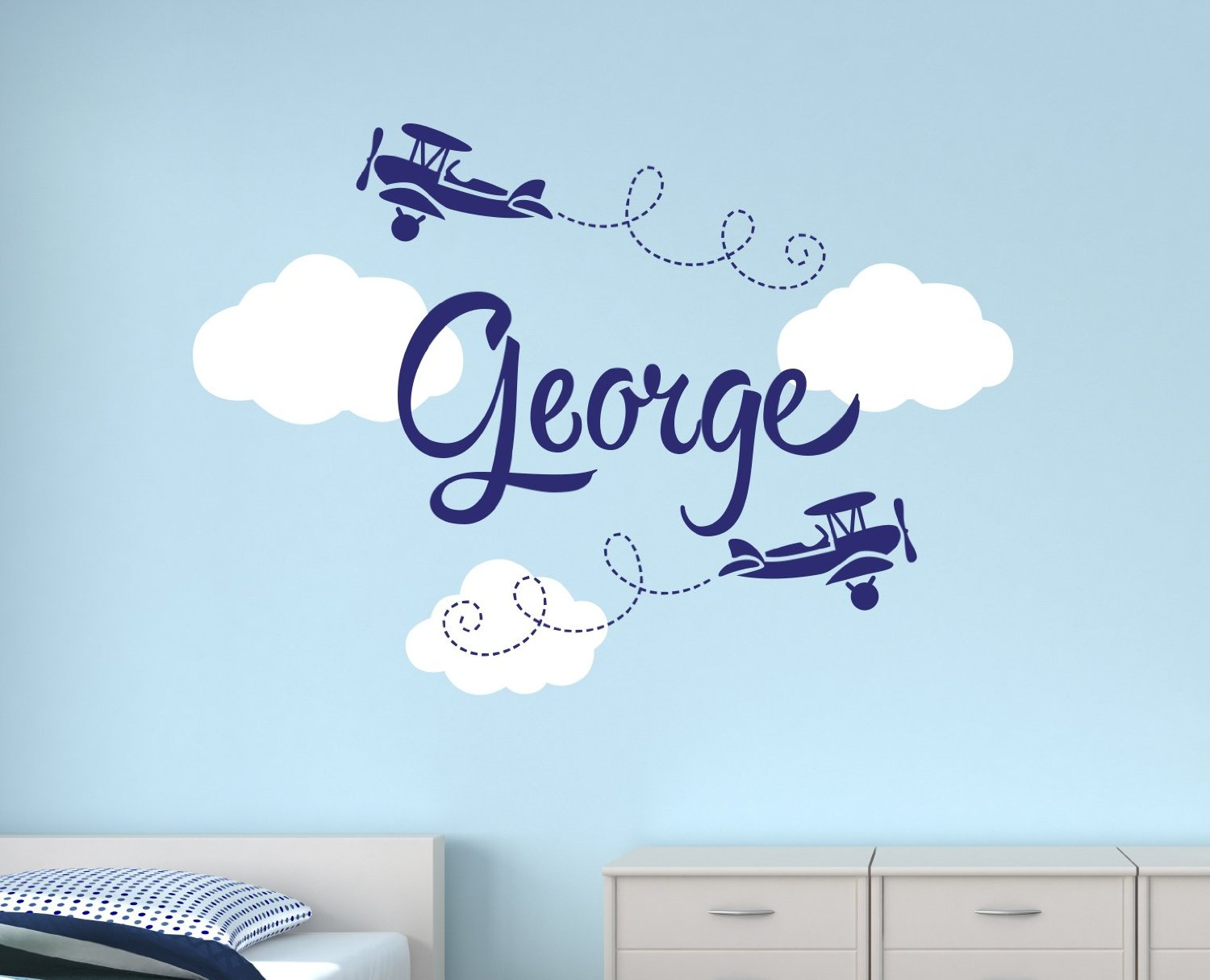 Boys Name Airplane Clouds Decal Nursery Boys Personalized Name Home - Home Decor
