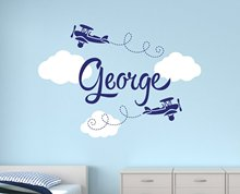 Boys Name Airplane Clouds Decal Nursery Boys Personalized Name Home decor kids Children Room Art Bedroom Vinyl Wall sticker Y-93