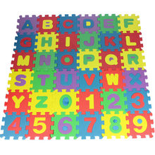 Alphabet letter digital toys Kids baby puzzle mats 66*66cm carpet babies 36PCS foam learning Children's toy Christmas gift(China)