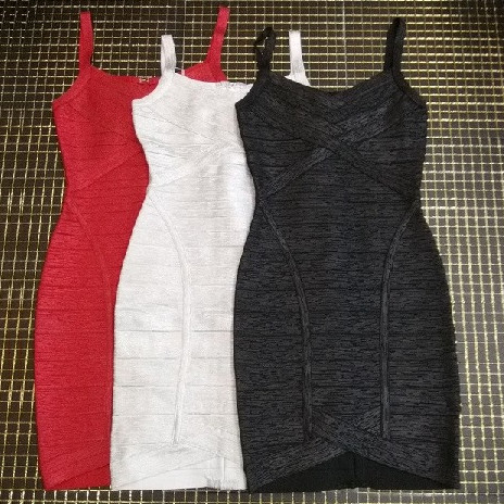 3 Colors Celebrity Top Quality Red Silver Black Print Sling Rayon Bandage Dress Homecoming Party Dress