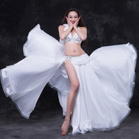 New! Luxury Handmade sewed Women Belly Dance Costume Sexy 2 pieces Sets Belly Dancing Wear Suits White Red high quality