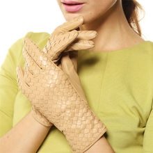 High-end Sheepskin Gloves Women  2018 Winter Real Genuine Leather Solid Fashion Wrist Weave Driving Free Shipping L118NN