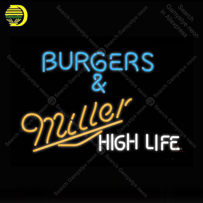 Miller Burgers And Miller Neon Sign neon lamp GLASS Tube BEER BAR Pub Store Display Handcraft Iconic Sign personalized cool sign
