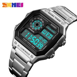 SKMEI Top Luxury Fashion Sport Watch Men Clock 5Bar Waterproof Watches Stainless Steel Strap Digital Watch Reloj Hombre 2019 New