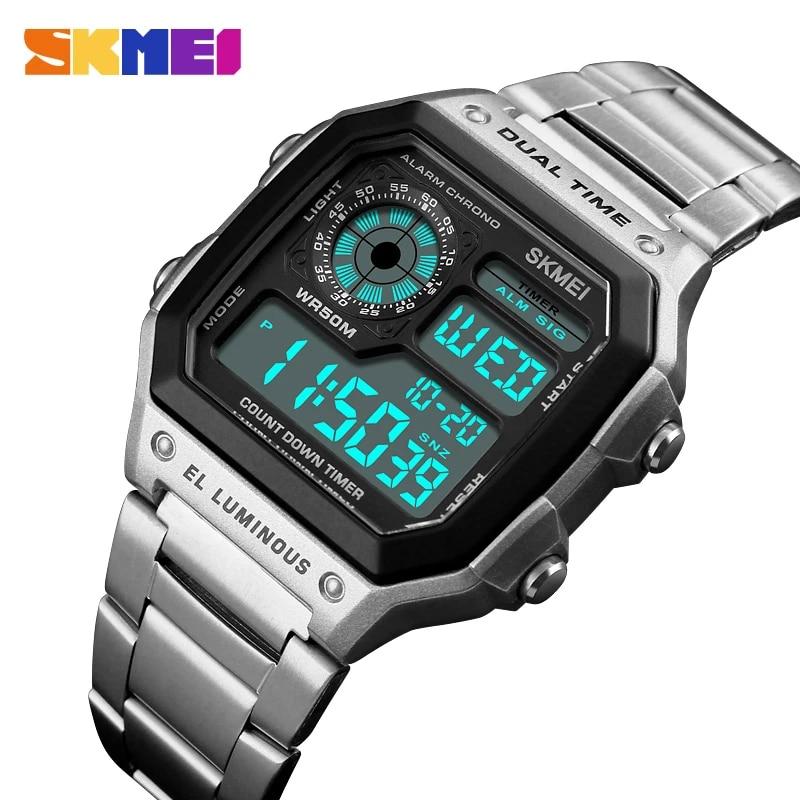 SKMEI Top Luxury Fashion Sport Watch Men Clock 5Bar Waterproof Watches Stainless Steel Strap Digital Watch Reloj Hombre 2021 New