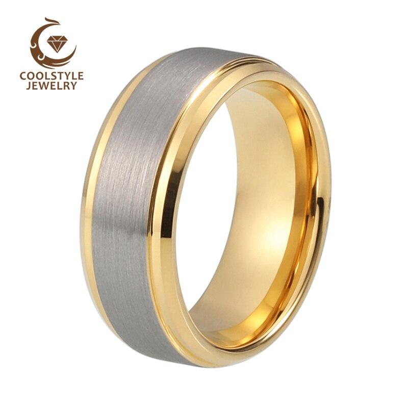 GLORIA Delle Donne del Mens 8mm Opaco Spazzolato Carburo di Tungsteno Anello Color Oro Giallo Wedding Band Comfort Fit