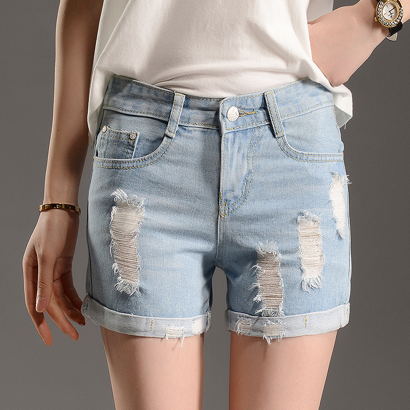 2016 new summer curling hole Korean thin Middle waist wide leg loose light blue denim shorts Lady Retro Women Short Jeans Z2089