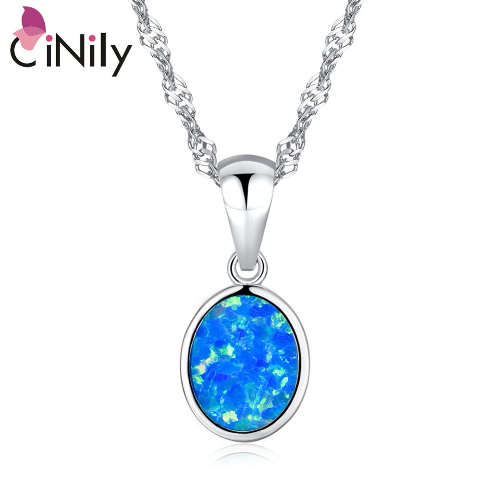 CiNily 2019 Forgyldt Fire Opal Vedhæng Ocean Blue Round Charm Fashion Party Smykker Valentines Gave til Girl Women 20mm