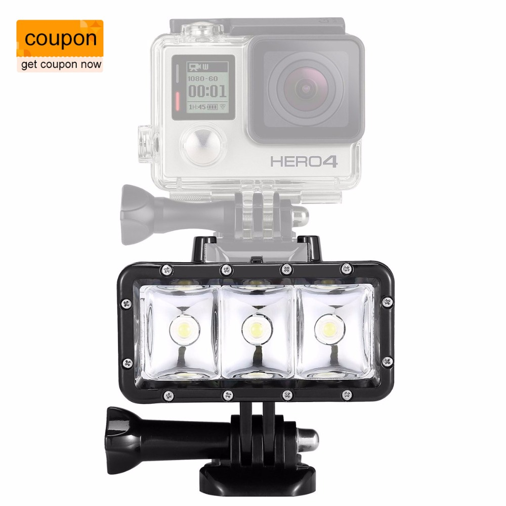 Fotopal Accessories For GoPro Light Diving LED video light Battery mount For GoPro Session Hero4 3