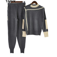 TAOVK woolen pullover Sweater + Mink Cashmere Trousers pant Leisure Two piece set Knitted warm trackSuits