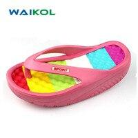 Waikol Lady Women's Summer Flower Bohemia Colorfull High-heeled Female Beach Flip Flops Slippers Massage Sandals
