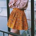 Nova primavera das mulheres frescas e lovely pena de cintura alta retro impressões costura plissado Uma saia palavra saia de cintura Elástica para meninas