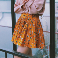 Spring new women's Fresh and lovely high waist retro feather prints stitching pleated A word skirt Elastic waist skirt for girls