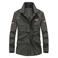 Casual Long Sleeve Shirt Men High Quality Military Style Multi Pocket Man Shirts M XXXXL Pure