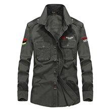 Casual Langarm-shirt Männer Qualität Military Style Multi-tasche Mann Shirts M-XXXXL Reiner Baumwolle Armee-grün Camisa Homme