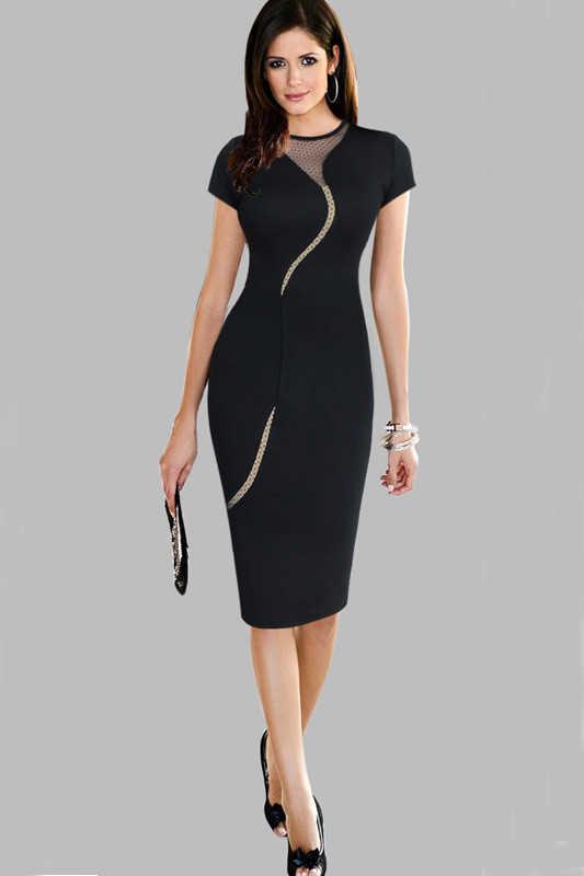 6b947e9136c ... Дамы Платья для женщин Элегантный Женственная Дамская обувь одежда  Размеры Работа Карьера платье жира Mesh Chic