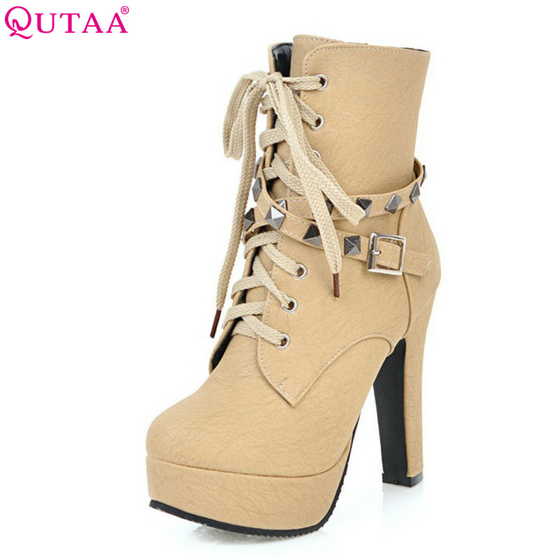QUTAA 2018 Women Ankle Boots Rivet Design Round Toe Pu Leather Rubber Square High Heel Z ...