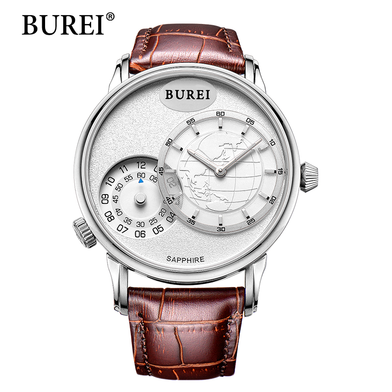 BUREI Men Two-movement casual Watch Top Brand Luxury Male sport Clock hours Sapphire Analog Display Male Quartz Wristwatches top brand women men casual watch lovers leather luxury dress watch woman sport quartz wristwatch male clock hours reloj horloge