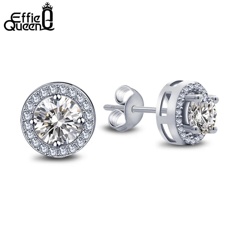 Effie Queen Women Earrings 0.75ct CZ Zircon Crystal Stud with Round Yellow Clear Color Zircon Stud Earrings Jewelry DE104