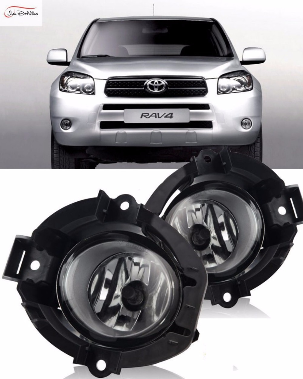 JanDeNing Car Fog Lights For 2006 2007 2008 Toyota RAV4 Clear Front Fog Lamp Cover Trim Replace assembly kit black (one Pair) car fog lights lamp for mitsubishi triton 2 door 2009 on clear lens pair set wiring kit fog light set free shipping